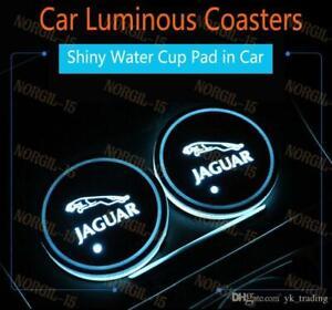 2PCS Colorful Fit for Jaguar LED Car Cup Holder Pad Mat Coaster Atmosphere Light