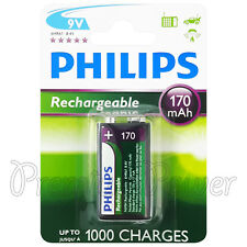 1 x Philips Rechargeable 9V battery 170mAh 6HR61 Ni-MH up to 1000 charges PP3