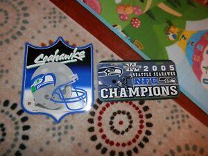 Seattle Seahawks sign & license plate lot New VTG 2005 Champ, sign Shield NFL
