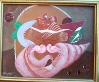 RARE VINTAGE LITTLE BIJOUX HAITIAN ART OIL PAINTING BY E CHAMPAGNE HAITI 8x6