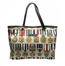 100% Authentic Jeremy Scott for Longchamp Medals Print Tote Bag