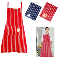 Stripy Butcher Apron Front Pockets Chef 100% Cotton Catering Kitchen Cooking Bib