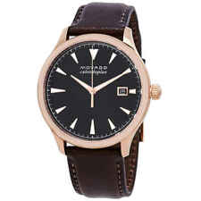 Movado Heritage Black Dial Chocolate Brown Leather Men's Watch 3650020