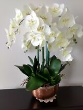 Artificial Flowers Silk Orchid Arrangement in a Hammered Copper Metal Bowl