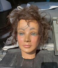 VINTAGE MANNEQUIN HEAD ANDROGYNOUS MAN WOMAN BROWN HAIR MID CENTURY MODERN IL