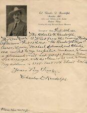 CHARLES D. RANDOLPH~BUCKSKIN BILL~PERSONAL LETTER AUTOGRAPH~WRITER~WESTERN POET