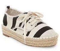 DV DOLCE VITA Roxie Canvas Espadrille Sneakers Lace-Up Womens Sz 6 Black Stripes