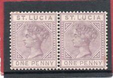 St.Lucia Vic. 1886-87 1d dull mauve pair sg 39 LH.Mint