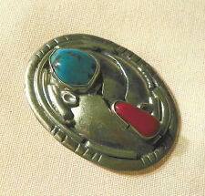 Silver turquoise and red coral bolo pin in good condition