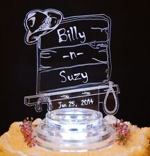 Western Backboard Lighted Wedding Cake Topper Acrylic Top Cowboy Custom