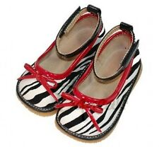 SALE!!!  Girls Zebra Print Red Bow Squeakers Squeaky Shoes Holiday Christmas NIB