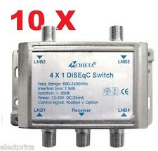 10 X HEAVY DUTY WSD-2041 CHIETA DISEqC MULTI-SWITCH 4X1 SATELLITE FTA LNB