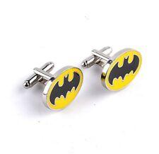 Quality Cufflinks Batman Oval Cuff links silver Colour Bat Man Logo Shirt Hero