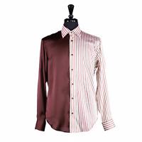 Men's Silk Button-Up Shirt Long Sleeve Dress Brown Striped Contrast Panel Medium