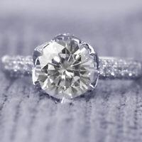 2.5 CT Round Cut D/VVS1 Engagement Wedding Diamond Ring 14k White Gold Enhanced