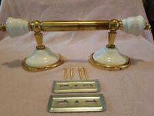 Vintage Brass+porcelin or ceramic Toilet Paper Tissue Roll Holder Bathroom Acc