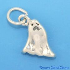 HALLOWEEN SPOOKY GHOST 3D .925 Solid Sterling Silver Charm MADE IN USA