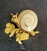 Daria Vintage Goldtone cream enamel pin brooch articulated flower stem branch