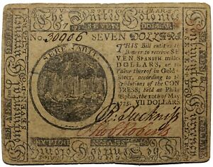 U.S. Continental Currency 1775 May 10th Seven Dollar Note $7 Hall Sellers CC-7