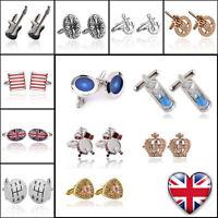 Mens Cufflinks Gold Silver Stainless Steel Business Wedding Shirt Cuff Links UK