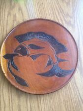 """Vintage Decorative Wood Plate Carved Fish Fishing Theme 10"""""""