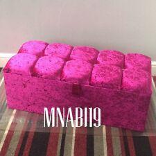 36INCH HOT PINK CRUSHED VELVET OTTOMAN STORAGE BOX TOY BEDROOM CHEST 4 DIAMOND