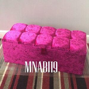 36 INCH HOT PINK CRUSHED VELVET OTTOMAN STORAGE BOX TOY BEDROOM CHEST 4 DIAMOND