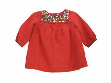 2264 New Bonpoint Kids Girls Floral Embroidered Red Cotton Tunic Dress 6 Months