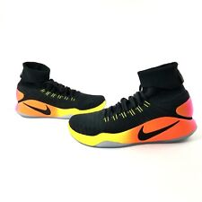 Nike Hyperdunk 2016 FK Unlimited 843390-017 Black Volt Orange Flyknit Racer SZ13
