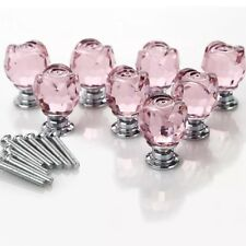 6 x Clear Rose Crystal Glass Door Knobs Kitchen Cabinet Drawer Handle 15MM New