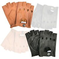 New Half finger real soft leather driving cycling fashion retro style gloves 317