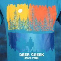 vintage 80s DEER CREEK STATE PARK SUNSET T-Shirt S/M ohio nature fishing beach