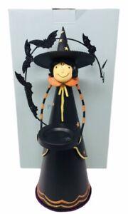 Partylite Halloween Abracadabra Tealight Holder Witch Black Orange