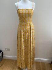 Free People Yellow Print Strappy Back Maxi Dress. UK 8.