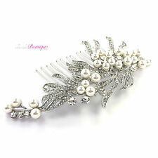 Vintage Art Deco Style Crystal Pearl Bridal Wedding Silver Hair Comb Slide HC07