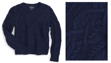 Ralph Lauren Girls' 'Aran' Cable Knit Sweater, Bright Navy, Size 6X, Org. 65$