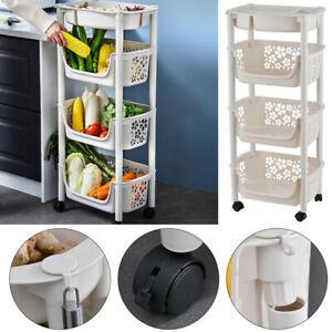 Modern Mobile Storage Unit Shelf Rack Storage Basket Kitchen w/ Wheel 4 Tier