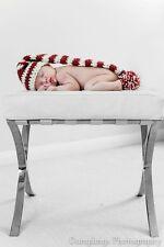 Long tailed stripey pixie elf hat with pom pom. Newborn. Photo photography prop.