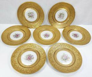 7 Heinrich & Co. Bavaria Floral & Gold Encrusted 10.5 Inch CABINET DINNER PLATES