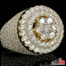 Mens 14k Gold Finish .925 Silver Similated Diamond Ring Size 9 Dome Cluster Iced