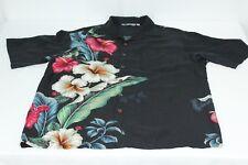 Vintage Iolani Floral Black M Medium Lily Hawaiian Rayon Shirt