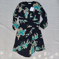 Sandro Paris NWT Bruni Asymmetric Floral Dress Size XS