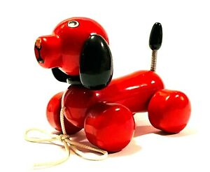 VINTAGE KOUVALIAS WOODEN QUALITY PULL ALONG TOY RED DOG GREEK USED RARE