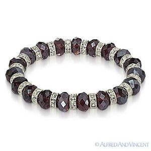 Faceted Resin Crystal Beaded Stretch Bracelet Austrian Czech CZ - Single-Colors