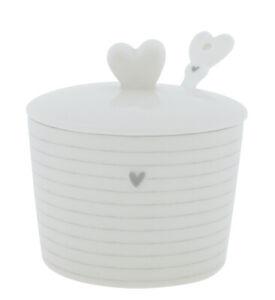 BC Zuckerdose Stripes mit Löffel Keramik weiss graue Streifen Herz Küche