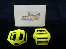 """NOS Yellow FREE AGENT DX STYLE PLATFORM PEDALS 1/2""""  Old School BMX Shimano OPC"""
