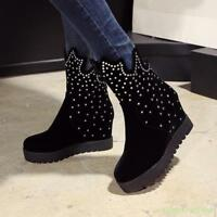 Womens Rhinestone Wedge Hidden High Heel Platform Warm Suede Ankle Boots Shoes