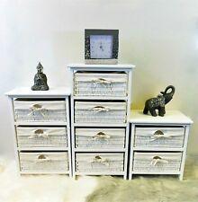 2 3 4 Drawer Wooden Frame Wicker Basket Storage Unit Bedroom Bathroom Organizer