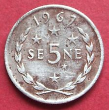 SAMOA  VERY COLLECTABLE 1967  VINTAGE FIVE SENE CIRCULATED COIN  TANUMAFILI  11