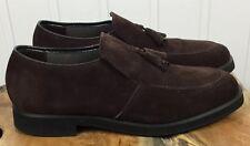 Vintage Men's Hush Puppies Size 9 1/2 Buck Suede Brown Slip On Loafer
